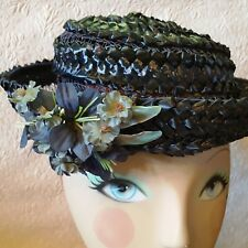 VTG Spiral-Woven BRETON Blue CELLO STRAW Hat MILLINERY Flowers & Parrot Feathers