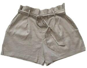 INC NWT Women's Linen Blend Regular Mid Rise Paper Bag Tan Shorts Size XXL