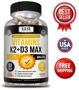 Vitamin K2 (MK7) with D3 5000 IU Supplement, BioPerine Capsules, Immune Health