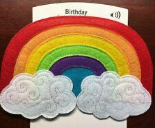 """FRIEND Musical  BIRTHDAY Card FELT COVERED - Song """"OVER THE RAINBOW"""" Hallmark"""