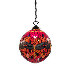 TIFFANY STYLE COLORFUL DRAGONFLY ORANGE ROUND CEILING LAMP LIGHT LIGHTS NEW