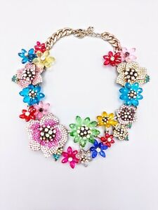 Magnificient French Embellished Tropical Lilies Statement Gold Bib Necklace 217g