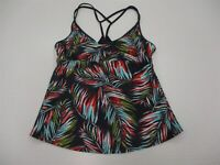 new MOSSIMO Women's Size S Tropical Leaf Print Gray/Orange Racerback Tankini Top