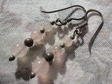 Beautiful signed 925 graduated rose quartz trio 2 gram 45mm pierced earrings