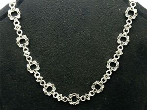 Vintage sterling silver link necklace with marcasites