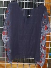 SIZE L-XL LAUREN CONRAD NAVY, BLUE, RED SEE THRU WING BLOUSE