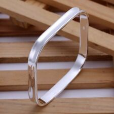 Fashion 925 Silver plated Jewelry Bright Square Bangles Bracelet K053