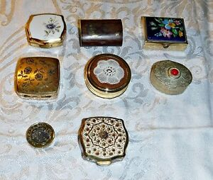 COLLECTION 7 VINTAGE PILL BOX'S ENAMEL STONE CHINA WHITE METAL WOOD 2  STRATTONS