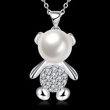 Lovely  925Sterling Silver Zircon Little Bear Pendant Lady Chain Necklace GN769