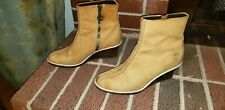 Timberland Elegant Tan Leather Side-Zip Wedge Boots US Women's 7.5