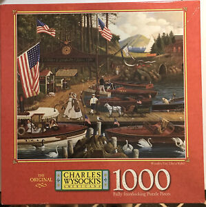 """MB Charles Wysocki 1000 pc Puzzle """"Wooden You Like a Ride"""" 1997 SEALED!"""