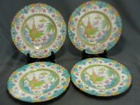 "4 Rare Royal Doulton Asian Inspired Turquoise Pink 8 1/4""W Plates Pattern E2923"