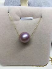 Round 12mm nature south sea Lavender pearl pendant 18inch 18k yellow gold