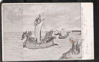 Netherlands. Schepen der Noormannen Voor Egmond aan Zee .Vintage Postcard 1900s