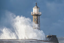 Large Whitby Canvas 30 by 20 Inch - Beast From The East With Snow On Lighthouse
