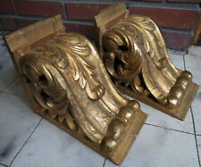 Old Pair wood hand carved corbel bracket Antique french architectural salvage