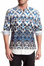 NWT Robert Graham Porto Magna Blue Mosaic Print Classic Fit Sport Shirt L $198