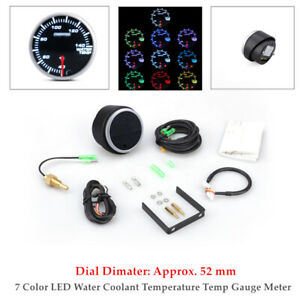2''52mm Black 7 Color LED Water Coolant Temperature Temp Gauge Meter W/Sensor