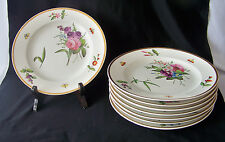 "8 Wonderful 1790 - 1800 Spode 8"" Porc Plates w HP Enameled Flowers & Insects"