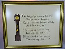 Vintage Needlepoint Cross Stitch Grandfather Clock & Poem Framed Wall Decor