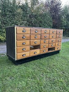 Industrial Vintage Antique Apothecary Haberdashery Cabinet Drawers Shop