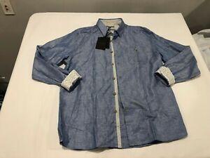 NWT $159.00 Ted Baker Mens LS Premium Linen Shirt Packet Blue Size 6 (2XL)