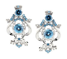 """Sterling Silver Blue Topaz Womens Chandelier Dangle Omega Earrings 2"""" 18.4CT"""