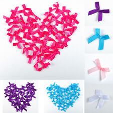 Lots 50pcs Mini Satin Ribbon Flowers Bows Wedding Decoration Gift Craft DIY