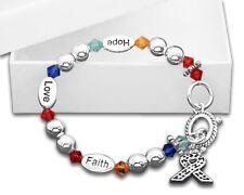 Autism Awareness Ribbon Hope Faith Love Beaded Bracelet