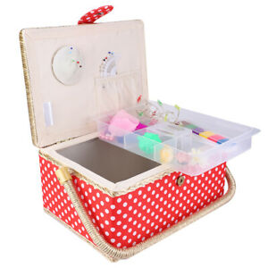 Sewing Organizer Red Color Fabric Craft Sewing Basket Household Girls for Women