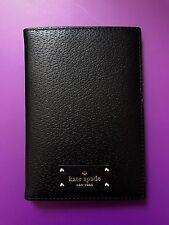 Kate Spade Imogene Grove Street Black Leather Passport Holder Case NEW