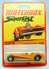 Matchbox Superfast Nr. 60B Lotus Super 7 orange auf rarer 1972 Blisterkarte