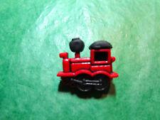 (1)  RED TRAIN ENGINE PLASTIC SHANK CRAFT EMBELLISHMENT BUTTON LOT (E307)