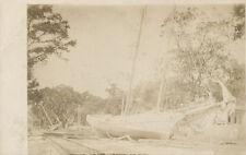 Schooner Boat on RR Tracks  RPPC ca. 1908  UNUSUAL  Hurricane?