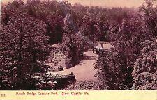 NEW CASTLE PA RUSTIC BRIDGE CASCADE PARK  POSTCARD c1908