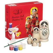 HOUSE OF CRAFTS 5 WOODEN RUSSIAN DOLL PAINTING KIT GIFT SET PAINTS BRUSH VARNISH