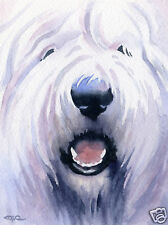 OLD ENGLISH SHEEPDOG Painting ART Print by Artist DJR