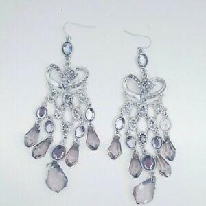 Silver Coloured Dangly Drop Diamante Gem Stone Earrings Statement festival ibiza