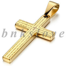 Men's Stainless Steel Christ Cross Bible LORD'S PRAYER Pendant Necklace Chain