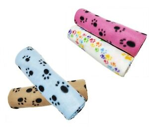 Pack of 4 Pet Blankets With Paw Prints Pet Cushion Animals Blanket 70 x 100 cm