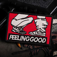 Feeling Good Hook Loop Patch Embroidered Sew On Badge Fabric DIY Craft Sticker