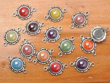 20pcs Mixed color Tibetan Silver charm Connectors Ceramic Scrapbook 23mm