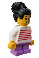 Lego Mädchen schwarze Haare Shirt mit Streifen Minifigur Figur cty1019 Kind Neu