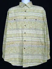 The Territory Ahead Mens L Cotton Long Sleeve Button Front Geometric Aztec Beige