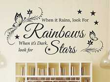 When it Rains Look For Rainbows Wall Quote Sticker Art home Decal bedroom i38