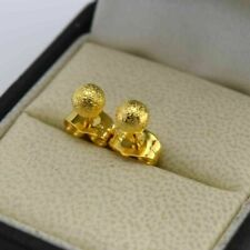 Cute New 18K Yellow Gold Filled Scrub Textured 5mm Ball Stud Post Earrings