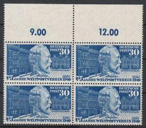 BRD 1949 MiNr. 116 postfrisch 4er-Block OR - 75 Jahre Weltpostverein UPU
