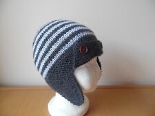 f632f5b0 Hand knitted baby boys aviator/trapper style hat, charcoal/grey, age 2