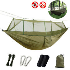 Double Portable Outdoor Camping Hammock Mosquito Nylon Hanging Bed Army Green