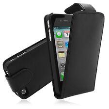 iPhone 4/4S Echt Leder Tasche schwarz Hülle Case Schutzhülle Etui